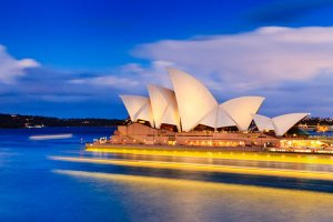 A view of the Sydney Opera House, as seen from the historic area known as The Rocks, located on the southern shore of Sydney Harbour.