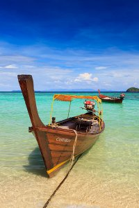 A long-tail boat on Ko Lipe, a small island surrounded by the Andaman Sea and located near the Tarutao National Park in southwest Thailand.