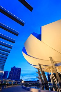 A view of the exterior of the lotus-inspired ArtScience Museum at Marina Bay Sands, designed by Moshe Safdie and also known as the Welcoming Hand of Singapore.