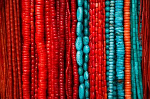 Coral and turquoise necklaces for sale in the narrow streets of Thamel.
