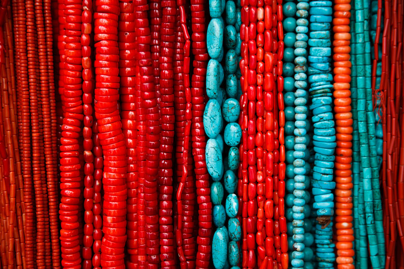 Coral And Turquoise Necklaces For Sale In The Narrow Streets Of Thamel