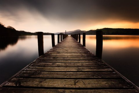 Jetty on Coniston Water, formerly known as Thurston Water, the third largest lake in the English Lake District National Park.