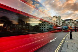 Traffic around Trafalgar Square, which is located within the Westminster borough of London.