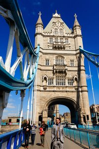 The iconic Tower Bridge over the River Thames, located in the Southwark Borough of London.