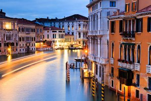View of the Grand Canal as seen from the Ponte dell'Accademia bridge, located in the UNESCO World Heritage Site of Venice.