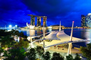 View of the Esplanade Outdoor Theatre and Marina Bay Sands Hotel, as seen from the rooftop area of the Theatres on the Bay.