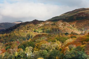 Autumn in Grasmere, located within the English Lake District National Park.