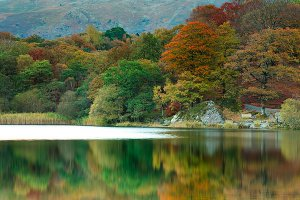 Autumn by Grasmere Lake, located within the English Lake District National Park.