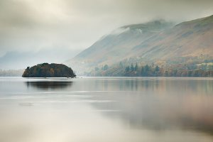 Autumn by Derwent Water, as seen from Lakeside, located within the English Lake District National Park.