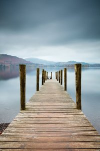 Jetty on Derwent Water, located within the English Lake District National Park.